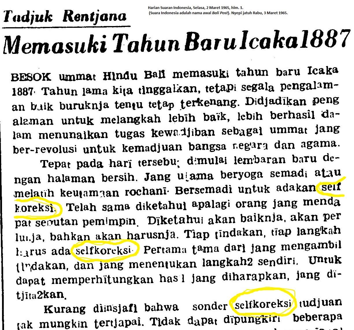 """Pesan Nyepi 1965 dan 2015: """"Selfkoreksi"""" dan """"Mulat Sarira ..."""
