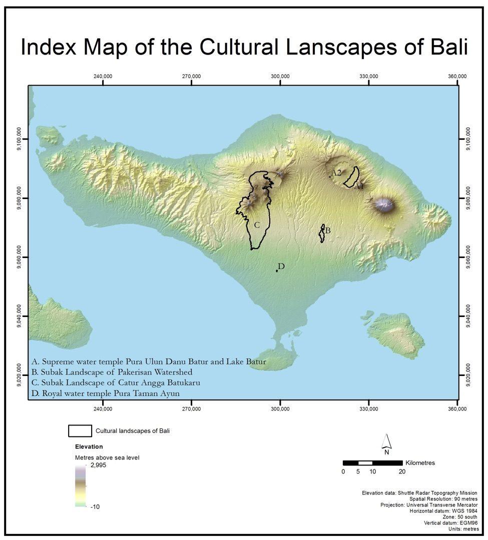 Peta kawasan subak sebagai Warisan Budaya Dunia UNESCO. Sumber UNESCO.
