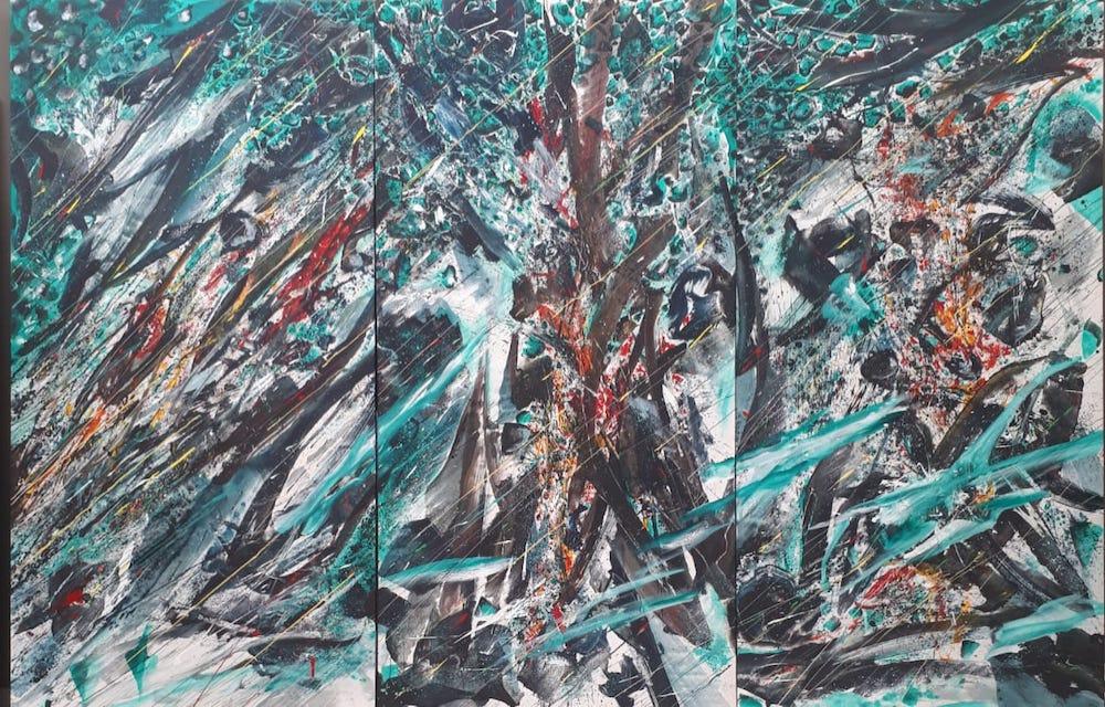Karya-karya abstrak ekspresionistik I Madè Sumadiyasa tidak hanya objek retinal belaka, tapi sudah menjadi wujud dari gelora energi itu sendiri.
