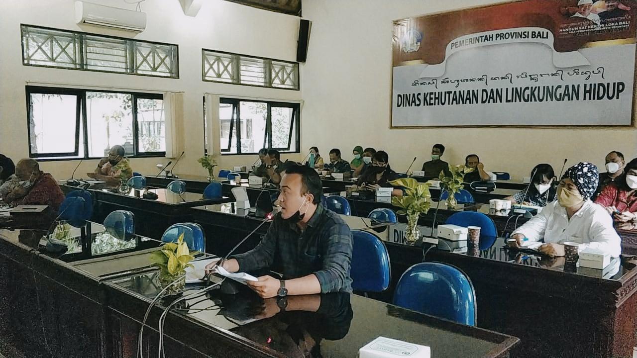 Dokumentasi Walhi Bali dalam pembahasan Rancangan Rencana Kerja DKLH Bali 2022 22 Februari 2021. Foto WALHI Bali.